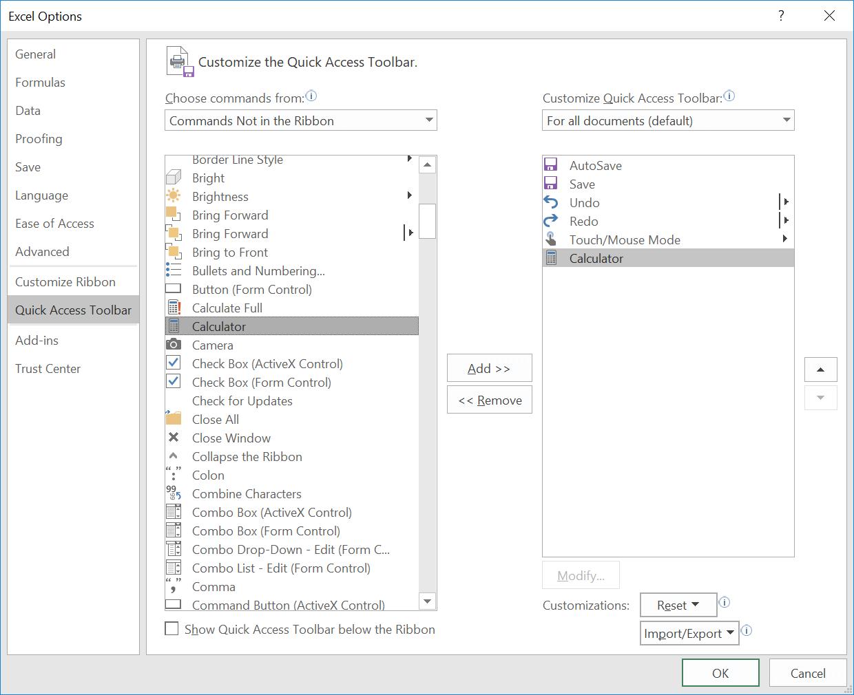 Add Windows Calculator to Microsoft Excel